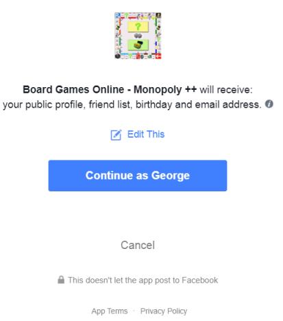 Facebook permission screen